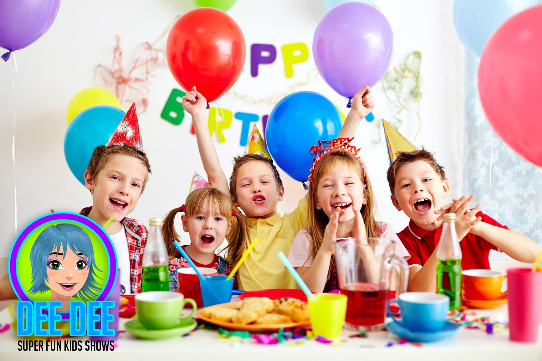 Group of adorable kids looking at camera while having fun at birthday party